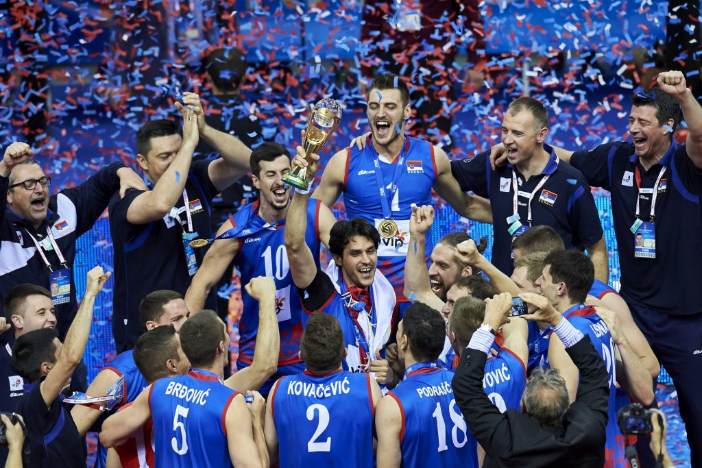 SerbiasteamcelebratevictorywhileawardingceremonyaftertheFIVBWorldLeaguevolleyballFinalmatch