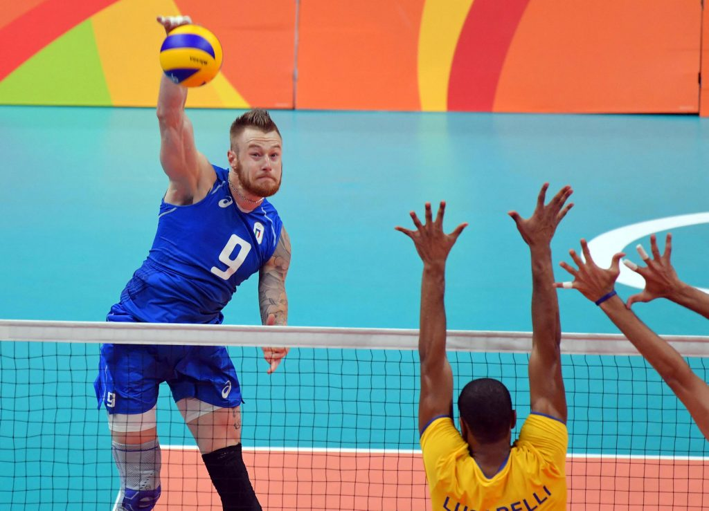 Ivan Zaytsev of Italy spikes