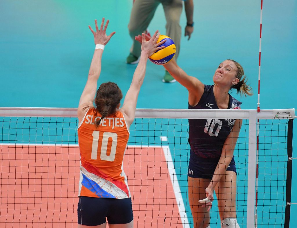 Jordan Larson-Burbach of USA spikes